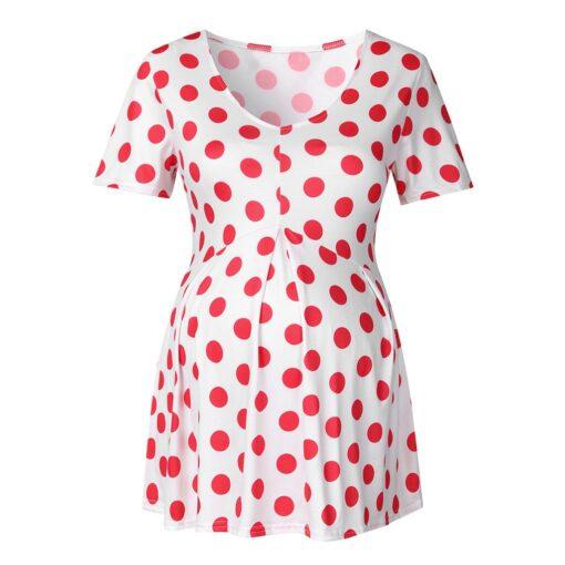 Ladies Pregnant Women Breastfeeding Dot Print Short Sleeve Tops Shirt Breastfeeding Tops Loose Maternity Clothing LR2 3