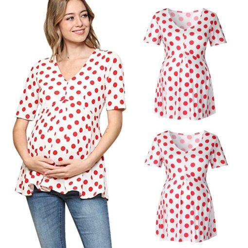 Ladies Pregnant Women Breastfeeding Dot Print Short Sleeve Tops Shirt Breastfeeding Tops Loose Maternity Clothing LR2 4