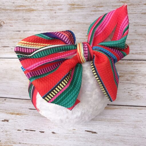 Large Bow Wide Headband DIY Handmade Hair Bowknot Print Hair Bands Children Kids Head Wraps Baby 4
