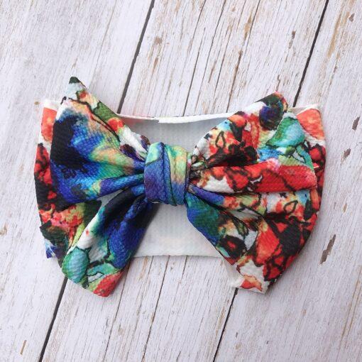 Large Bow Wide Headband DIY Handmade Hair Bowknot Print Hair Bands Children Kids Head Wraps Baby 5