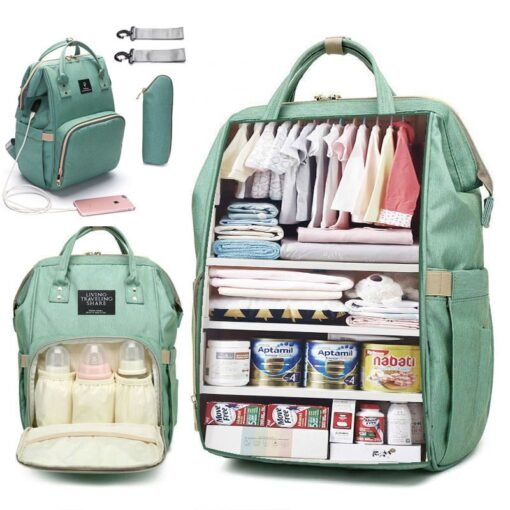 Large Capacity Diaper Bag Backpack Waterproof Maternity Bag Baby Diaper Bags With USB Interface Mummy Travel