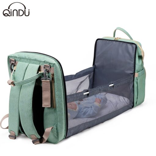 Large Capacity Diaper Bag Mummy Birthing Backpack Travel Portable Shoulder Multifunction Fold Bed Bags Waterproof Stylish 2