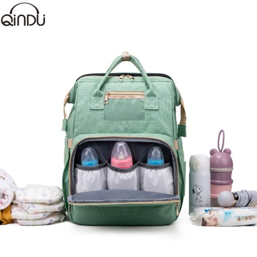 Large Capacity Diaper Bag Mummy Birthing Backpack Travel Portable Shoulder Multifunction Fold Bed Bags Waterproof Stylish 3