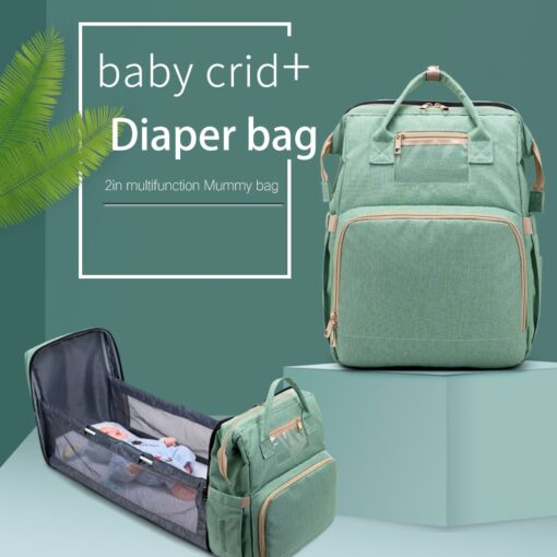 Large Capacity Diaper Bag Mummy Birthing Backpack Travel Portable Shoulder Multifunction Fold Bed Bags Waterproof Stylish