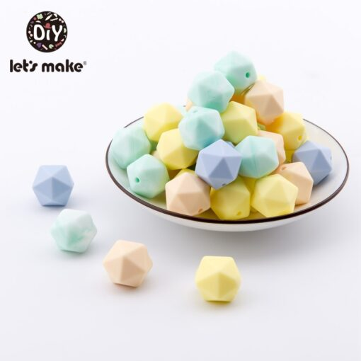Let s Make 10pc 14mm Silicone Beads Hexagon Bpa Free Silicone Teether Diy Teething Toy Baby 2