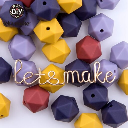 Let s Make 10pc 14mm Silicone Beads Hexagon Bpa Free Silicone Teether Diy Teething Toy Baby 3