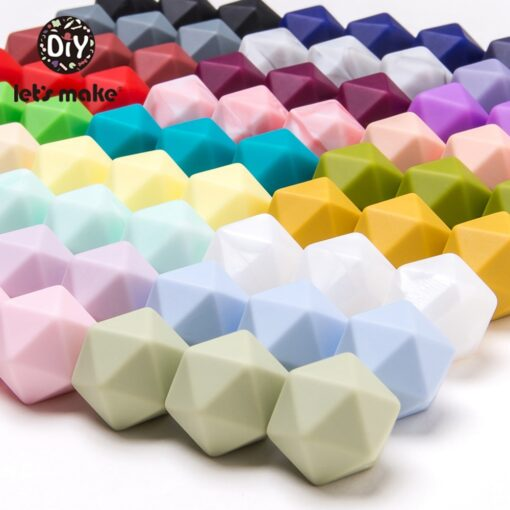 Let s Make 10pc 14mm Silicone Beads Hexagon Bpa Free Silicone Teether Diy Teething Toy Baby