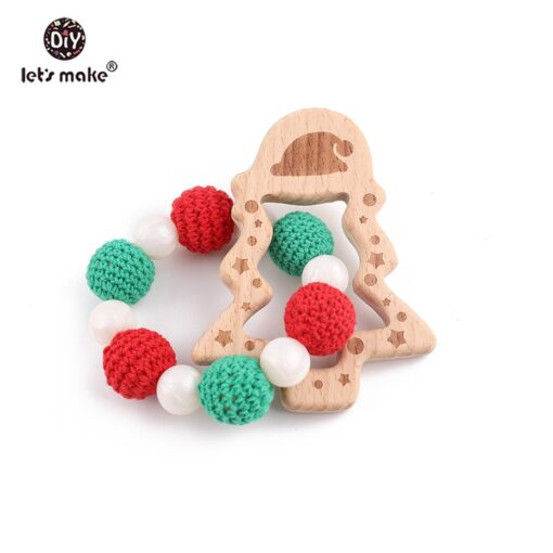 Let s Make 3pc set Wood Ring Christmas Tree Baby Rattle Food Grade Wooden Teether Educational 5