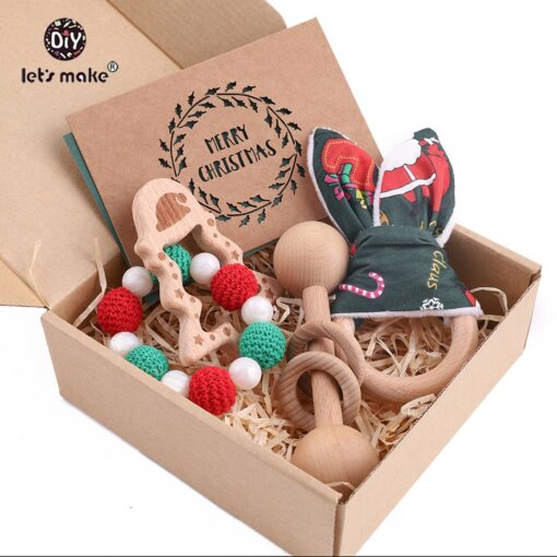 Let s Make 3pc set Wood Ring Christmas Tree Baby Rattle Food Grade Wooden Teether Educational