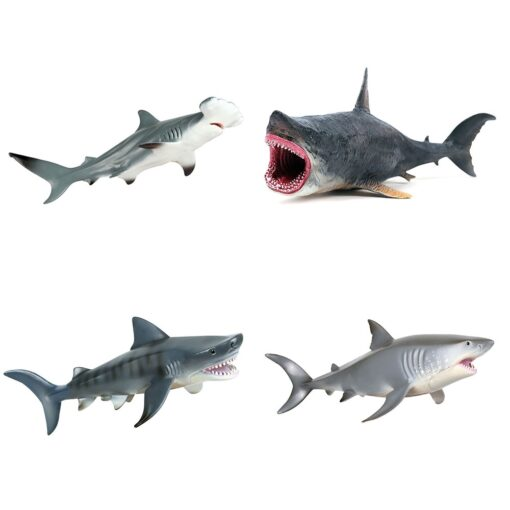 Lifelike Shark Toy Marine Life Animal Model Toy Giant Tooth Shark Blue Whale Animal Shark Model 1