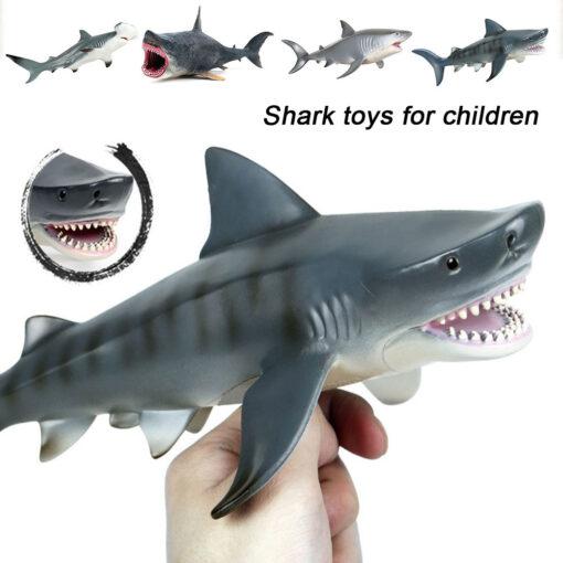 Lifelike Shark Toy Marine Life Animal Model Toy Giant Tooth Shark Blue Whale Animal Shark Model 3