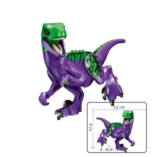 Locking Blocks Jurassic Dinosaurs Tyrannosaurus Rex Wyvern Velociraptor Stegosaurus Building Blocks Toys For Children Dinosaur 4