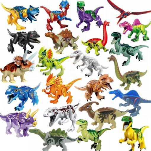 Locking Blocks Jurassic Dinosaurs Tyrannosaurus Rex Wyvern Velociraptor Stegosaurus Building Blocks Toys For Children Dinosaur