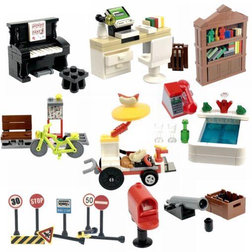 Locking MOC Creator Blocks Desk Bookcase Piano Bathtub Set Building Blocks Toys for Children for Creator