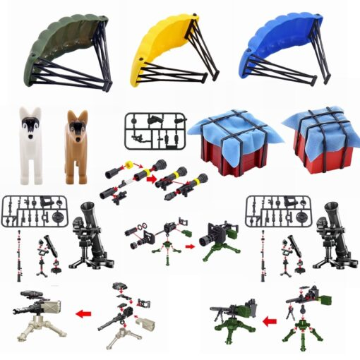 Locking Military SWAT Figures Weapon Box Police Dog Gun Building Blocks Toys For Children Assemble Weapons