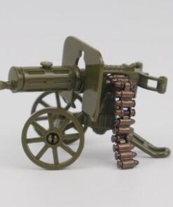 Locking Military WW2 War The Green Heavy Gun with Bullet Toy Building Blocks Toys For Children