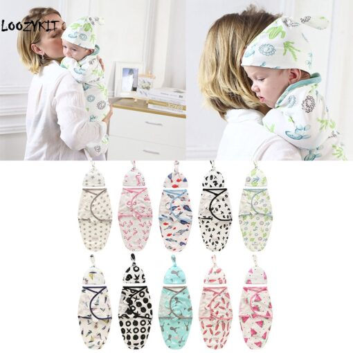 Loozykit 2 Pieces Set Newborn Swaddle Wrap Hat Cotton Baby Receiving Blanket Bedding Cartoon Cute Infant