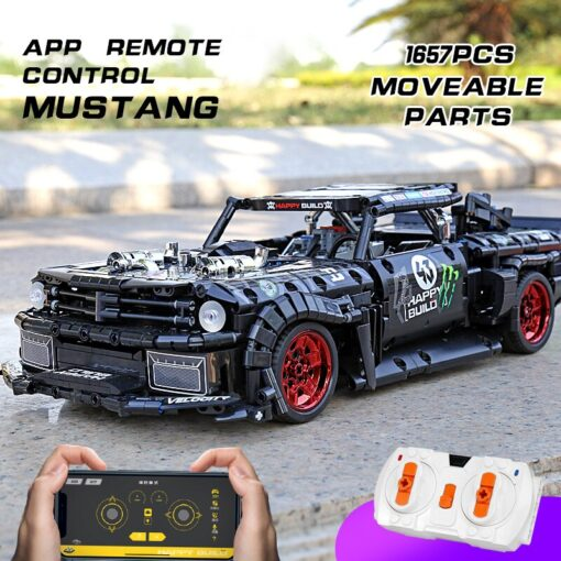 MOC 22970 Led Bricks Model Compatible Technic RC Ford Mustang Hoonicorn RTR V2 City Car Building 1