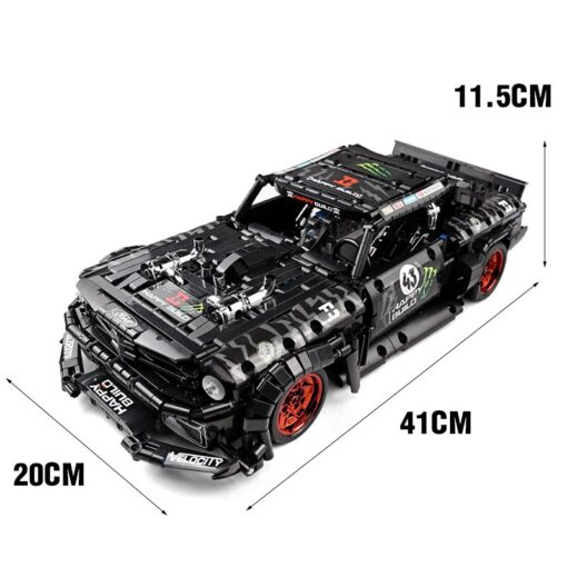 MOC 22970 Led Bricks Model Compatible Technic RC Ford Mustang Hoonicorn RTR V2 City Car Building 11