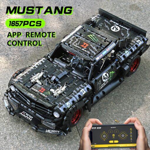 MOC 22970 Led Bricks Model Compatible Technic RC Ford Mustang Hoonicorn RTR V2 City Car Building 3