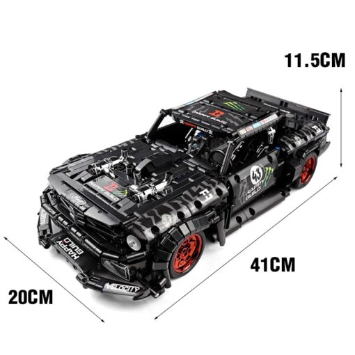 MOC 22970 Led Bricks Model Compatible Technic RC Ford Mustang Hoonicorn RTR V2 City Car Building 5