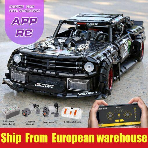 MOC 22970 Led Bricks Model Compatible Technic RC Ford Mustang Hoonicorn RTR V2 City Car Building 6