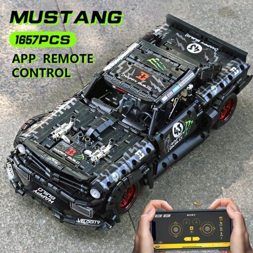 MOC 22970 Led Bricks Model Compatible Technic RC Ford Mustang Hoonicorn RTR V2 City Car Building 9