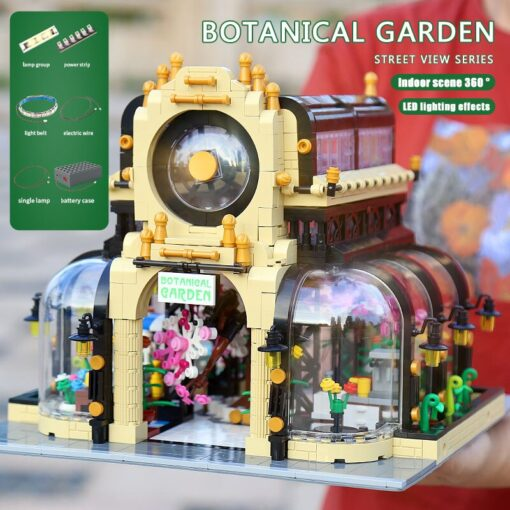 MOC City Streetview Series The Botanical Garden Park With Led Lights Set Model Building Blocks Bricks 1