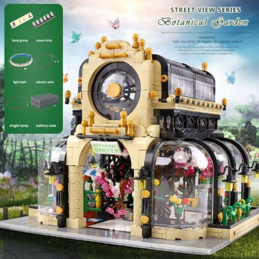 MOC City Streetview Series The Botanical Garden Park With Led Lights Set Model Building Blocks Bricks 2