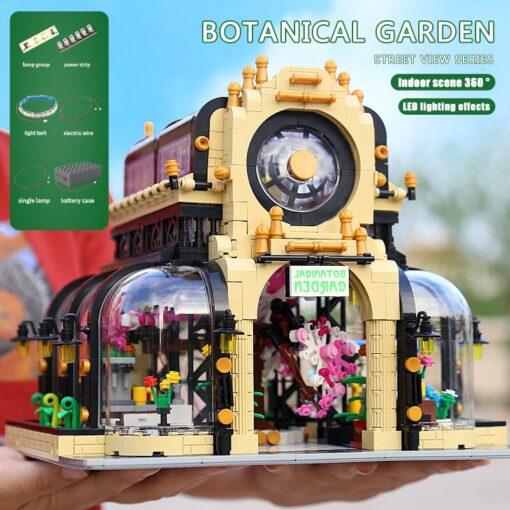 MOC City Streetview Series The Botanical Garden Park With Led Lights Set Model Building Blocks Bricks 3