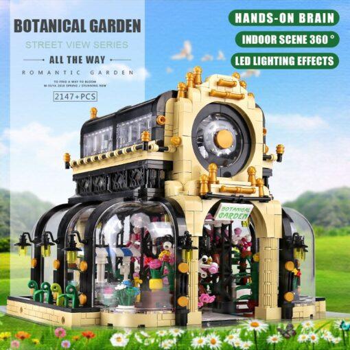 MOC City Streetview Series The Botanical Garden Park With Led Lights Set Model Building Blocks Bricks 4