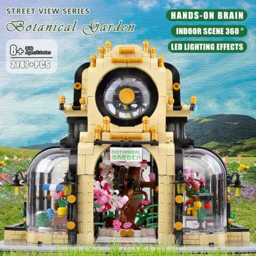 MOC City Streetview Series The Botanical Garden Park With Led Lights Set Model Building Blocks Bricks 5