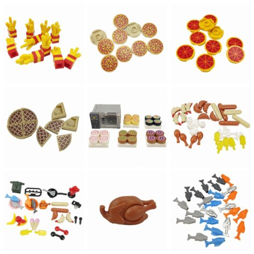 MOC Parts Food French fries Pizza Bread Roast Chicken Models Building Blocks Toys for Children Classic