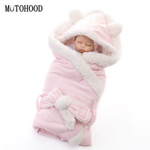 MOTOHOOD Winter Baby Boys Girls Blanket Wrap Double Layer Fleece Baby Swaddle Sleeping Bag For Newborns