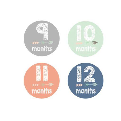 MUQGEW 12PCS Baby Newborn Monthly Milestone Stickers Birth to 12 Months Stickers Pegatinas Funny Sticker Toys 4