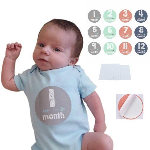 MUQGEW 12PCS Baby Newborn Monthly Milestone Stickers Birth to 12 Months Stickers Pegatinas Funny Sticker Toys