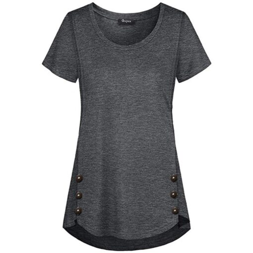 Maternal Solid Color Cotton Lactation Short Sleeves Round Neck Button lined Feeding T shirt Casual Loose 4