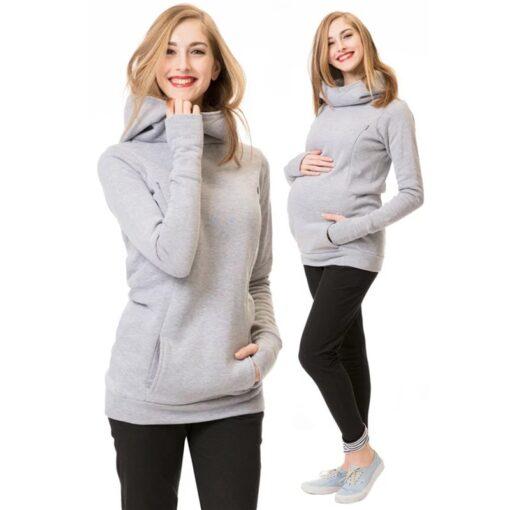 Maternity Sweatshirt Women Nursing Maternity Long Sleeves Hooded Breastfeeding Hoodie Pregnant Women Long Sleeve Hooded Sweater 1