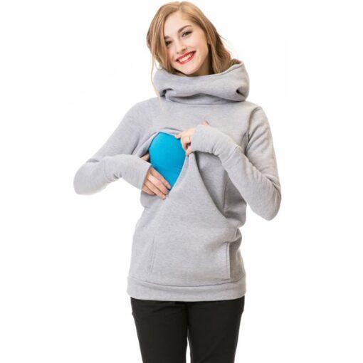 Maternity Sweatshirt Women Nursing Maternity Long Sleeves Hooded Breastfeeding Hoodie Pregnant Women Long Sleeve Hooded Sweater 2