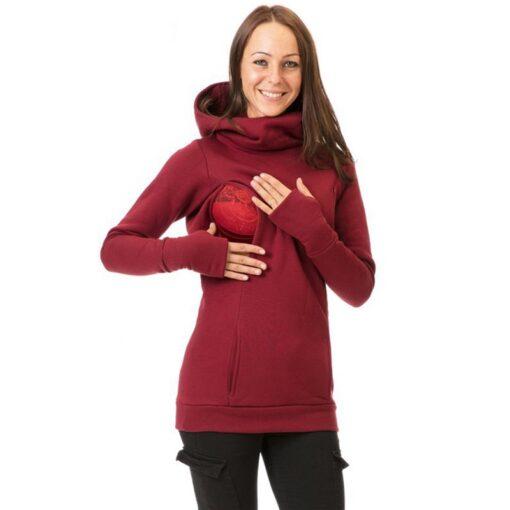 Maternity Sweatshirt Women Nursing Maternity Long Sleeves Hooded Breastfeeding Hoodie Pregnant Women Long Sleeve Hooded Sweater 3