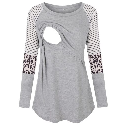 Maternity Tshirt Women Mom Pregnant Nursing Baby Long Sleeved Stripe Tops Maternidad Ropa Lactancia Breastfeeding T 1