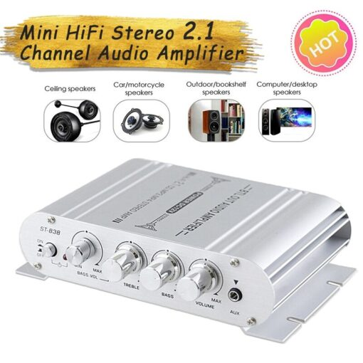 Mini 12V Digital Subwoofer HiFi Stereo BASS 2 1 Channel Audio Cable Amplifier for Home Car