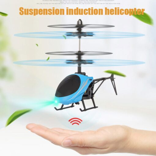 Mini RC Drone Flying RC Helicopter with Remote Control Aircraft Suspension Induction Helicopter LED Light Toys 2