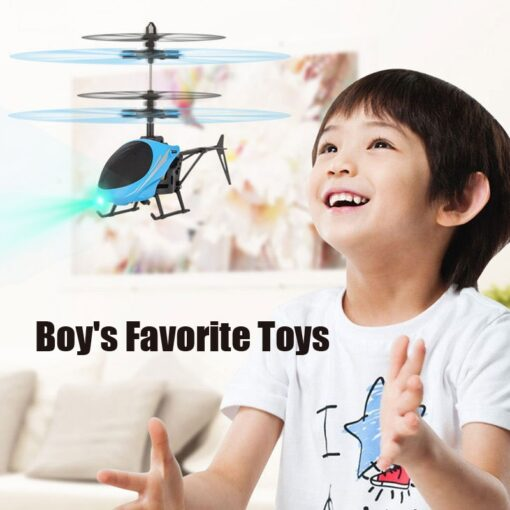 Mini RC Drone Flying RC Helicopter with Remote Control Aircraft Suspension Induction Helicopter LED Light Toys 3