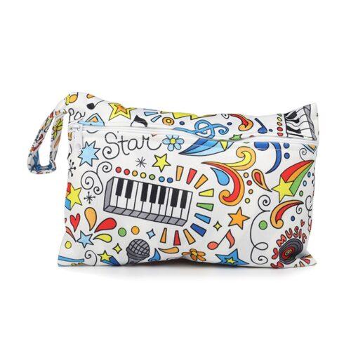 Mini Wet Bag Reusable For Nursing Menstrual Pads Waterptoof PUL Snap Handle Wetbag Maternity Diaper Bag 2