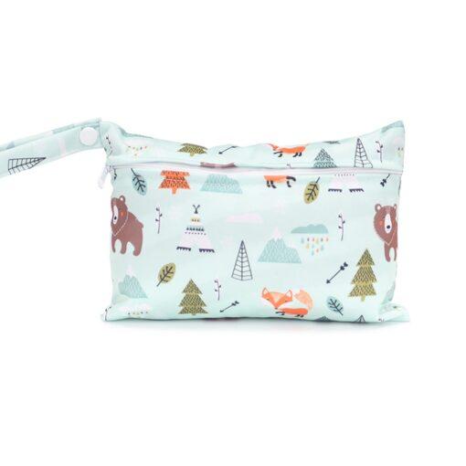 Mini Wet Bag Reusable For Nursing Menstrual Pads Waterptoof PUL Snap Handle Wetbag Maternity Diaper Bag 4