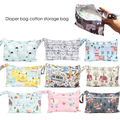 Mini Wet Bag Reusable For Nursing Menstrual Pads Waterptoof PUL Snap Handle Wetbag Maternity Diaper Bag
