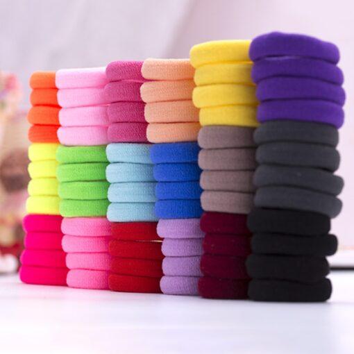 Mix Candy Colors 100pcs Cute Children Headwear Hair Loops No Damage Hair Band Seamless High Elastic 2