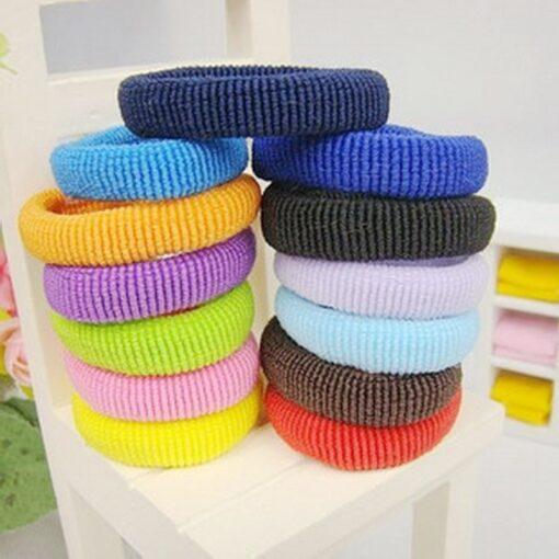 Mix Candy Colors 100pcs Cute Children Headwear Hair Loops No Damage Hair Band Seamless High Elastic 3