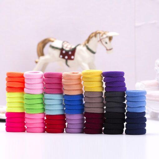 Mix Candy Colors 100pcs Cute Children Headwear Hair Loops No Damage Hair Band Seamless High Elastic 4